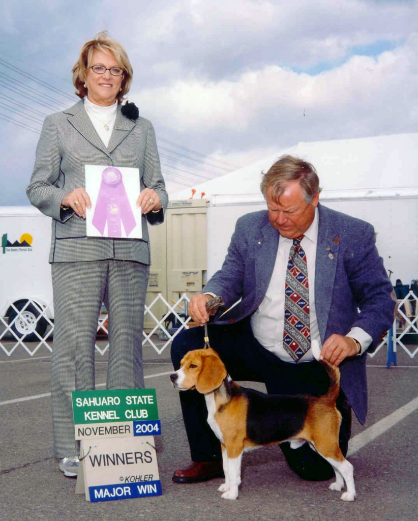 This is Cooper pictured at Sahuaro State Kennel Club November 21, 2004.  The judge awarding Cooper a 4 point major is Mrs. Keke Kahn.  Cooper is handled by Ric Plaut.